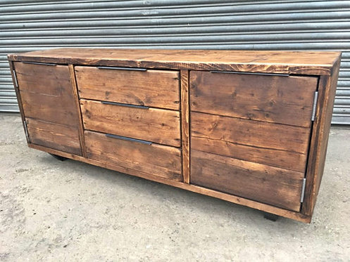 Reclaimed Industrial Chic Rustic 3-Drawer Sideboard 512