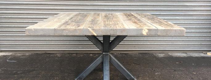 Industrial Chic Reclaimed Custom Pedestal Table Wood & Steel 330