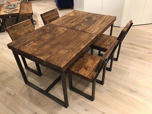 Reclaimed Industrial Chic 6 10 Seater Solid Wood Metal Extending Table 131