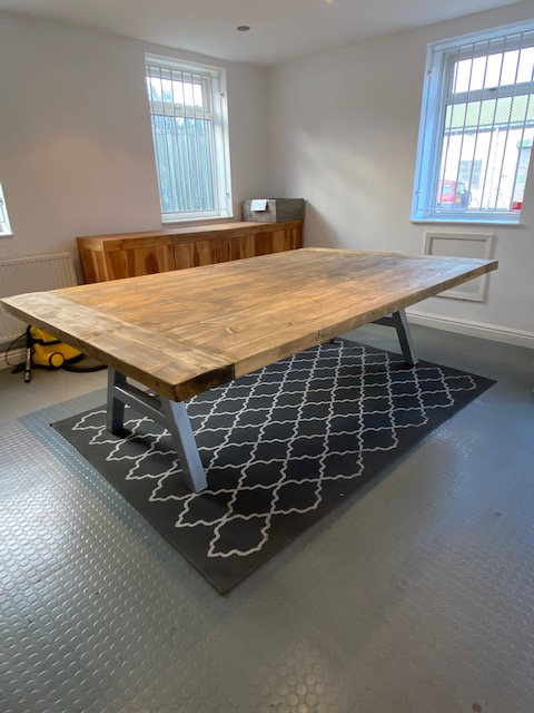 ***IN STOCK*** A-FRAME TABLE IN OIL WITH CHROME FRAME