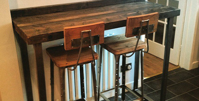 Reclaimed Industrial 4 Seater Chic Tall Poseur Wood & Metal Bar Table HCB 428