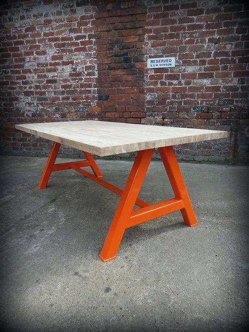 Modern Industrial Chic Solid Oak Block A-Frame Dining Table Orange 200