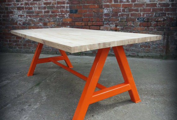 Modern Industrial Chic Solid Oak Block A-Frame Dining Table Orange 200
