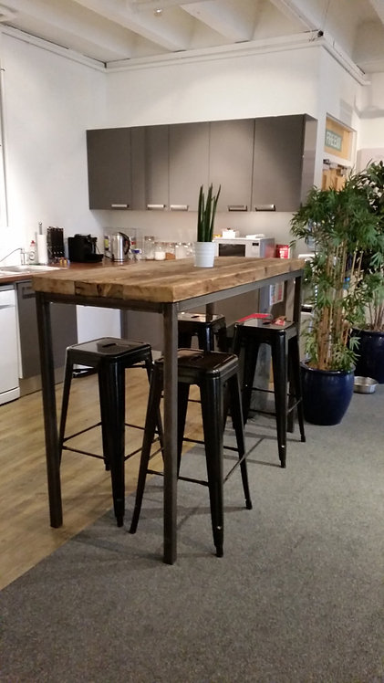 Reclaimed Industrial Chic 6-8 Seater Tall Poseur Bar Straight Leg Table 002