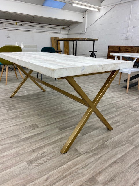 ***IN STOCK*** RECLAIMED DOUBLE X TABLE IN WHITEWASH WITH GOLD FRAME