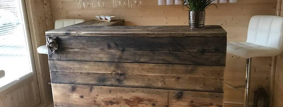 Reclaimed Industrial Chic Custom Made L Shape Corner BarCounter - 553