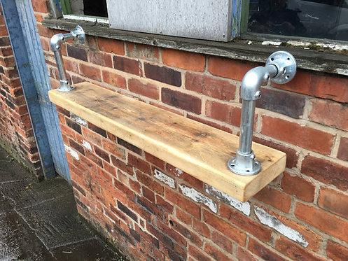 Reclaimed Industrial Chic Steel Pipe Bracket & Shelf Bar Cafe Restaurant 432