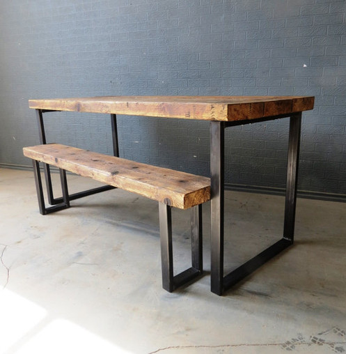 Reclaimed Industrial Chic 6 8 Seater Solid Wood Metal Dining Table