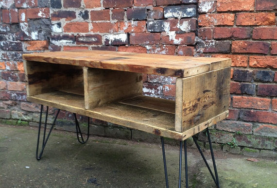 Industrial Chic Reclaimed Hairpin TV Stand Media Centre Coffee Table 150