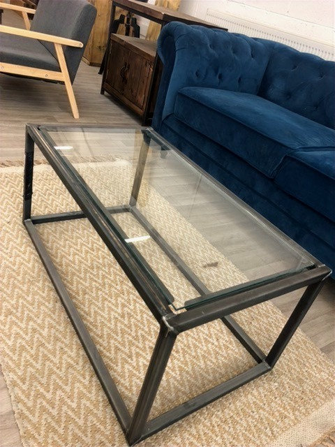 ***IN STOCK*** GLASS TOP CUBE COFFEE TABLE