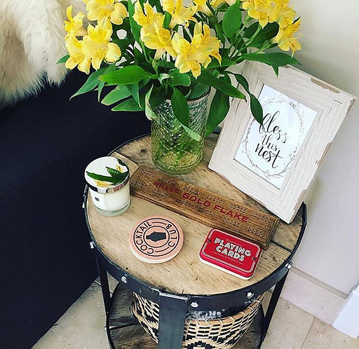 Industrial Chic Style Reclaimed Custom Bedside Round Side Table 062