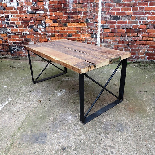 Reclaimed Industrial Chic 6 Seater Solid Wood And Metal Dining Table 049