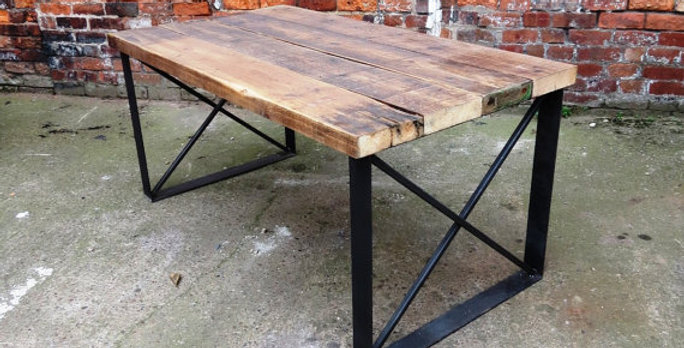 Reclaimed Industrial Chic 6 Seater Solid Wood Metal X Dining Table 049