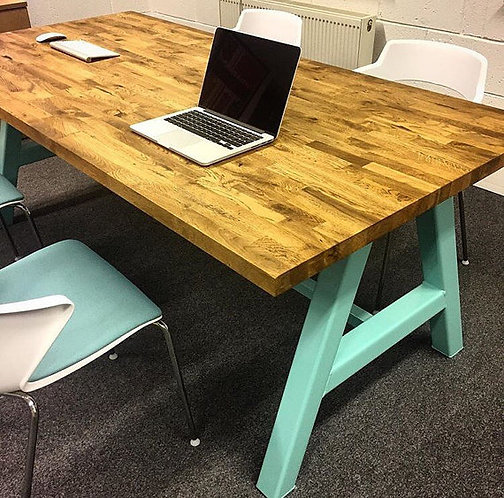 Modern Industrial Chic Solid Oak Block A-Frame Dining Table Pastel Green 105