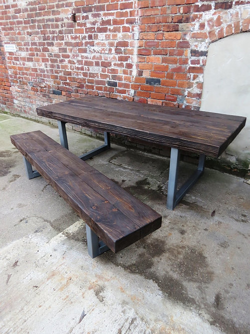 Reclaimed Industrial Chic 10-12 Seater Solid Wood & Metal Dining Table HCB 148
