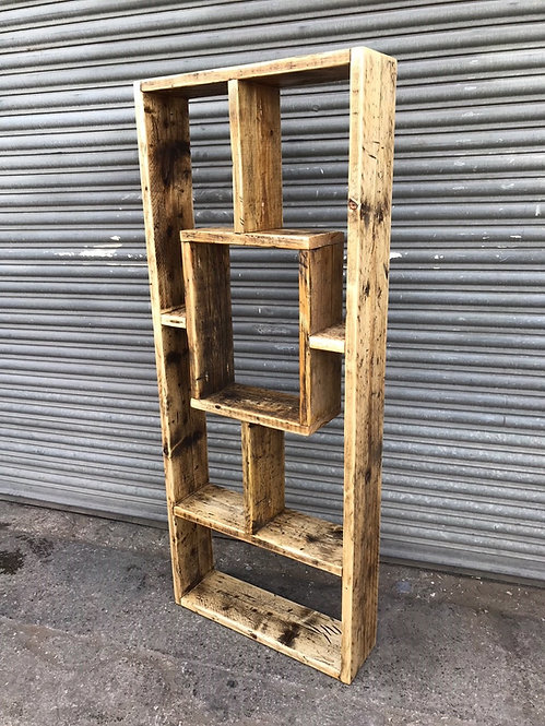 Reclaimed Industrial Chic Rustic All wood Geo Bookcase- 622