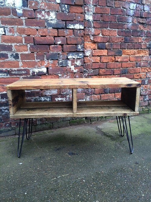 Industrial Chic Reclaimed Hairpin TV Stand Media Centre Coffee Table 354
