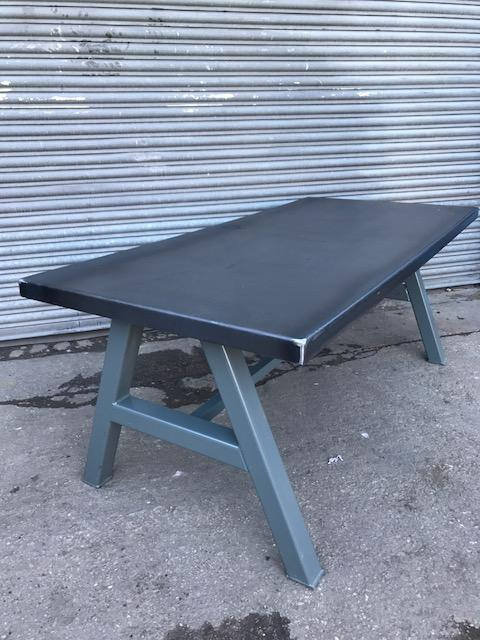Reclaimed Industrial Chic A-Frame 6-8 Seater Solid Steel Top & Metal Table 566
