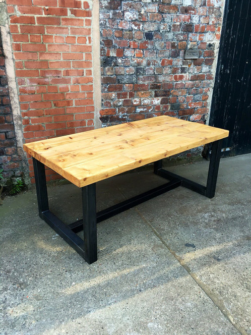 Reclaimed Industrial Chic Seater Solid Wood Metal Dining - 12 seater solid wood dining table