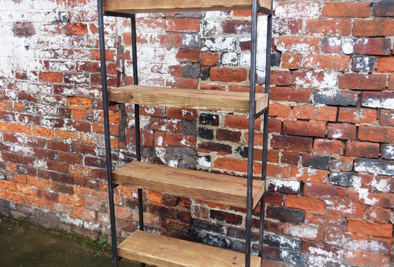 Industrial Chic Reclaimed Custom Steel & Wood Bookcase Shelving Unit 456