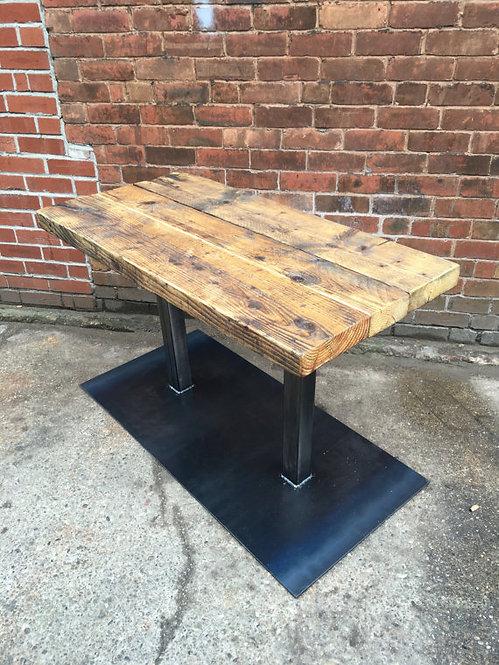 Industrial Chic Reclaimed 2-4 Seater Pedestal Table Steel & Wood 476