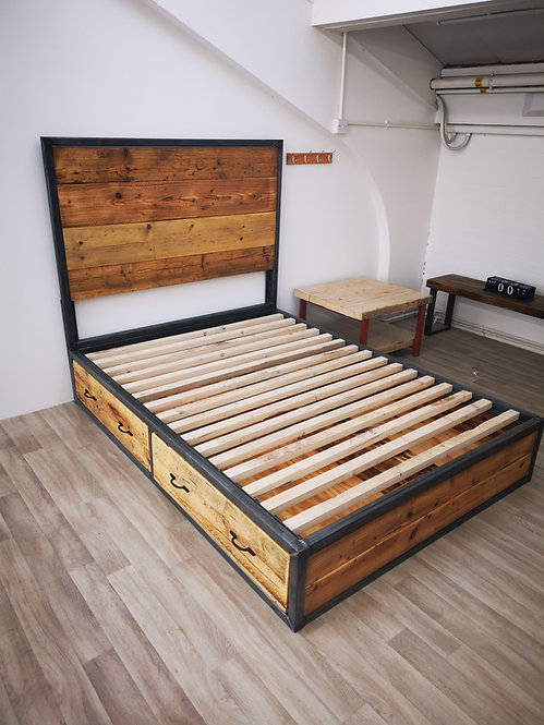Reclaimed Industrial Chic Hand Made Bed with Storage Drawers and Headboard - 666