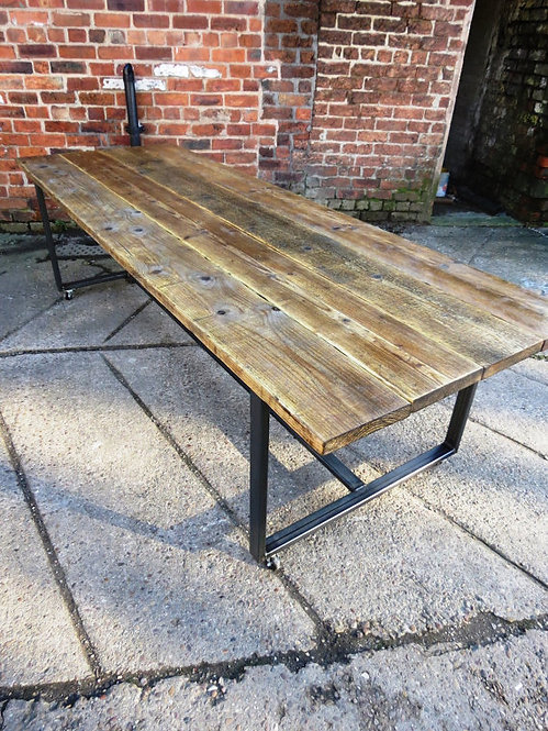 Reclaimed Industrial Chic 10-12 Seater Conference Office Table CB Steel Wood 438