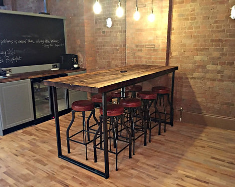 Reclaimed Industrial 8 Seater Chic Tall Poseur Table Wood Metal Bespoke HCB 355