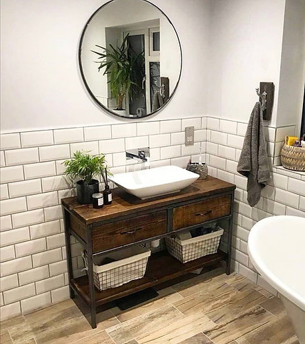 Reclaimed Industrial Rustic Bathroom Basin Washstand Sideboard with Drawers- 670