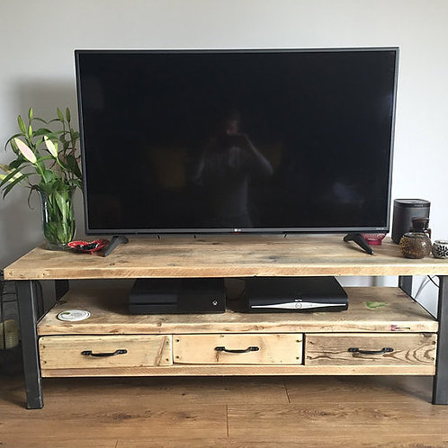 Industrial Chic Reclaimed Wood TV Stand Media Unit with 3 Drawers 336