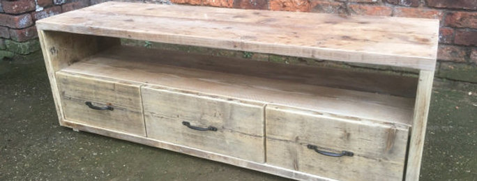 Industrial Chic Reclaimed Wood TV Stand Media Unit with 3 Drawers 203