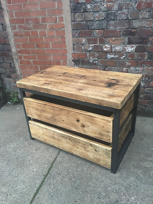 Reclaimed Industrial Chic Reclaimed Timber 2 Drawer Chest Island Unit 167