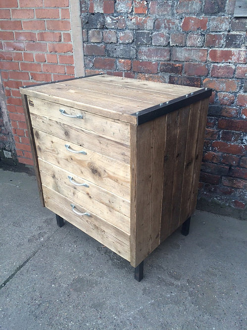 Reclaimed Industrial Chic Reclaimed Timber 4 Drawer Chest Steel Wood Metal 353