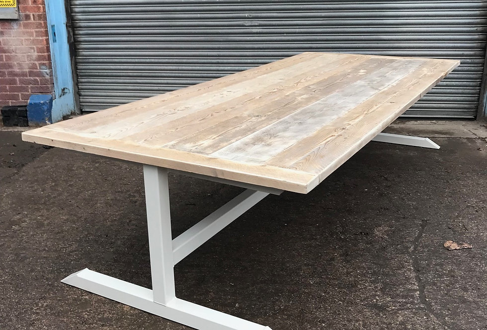 Reclaimed Industrial Chic Large T-Bar Conference Office Table White 616