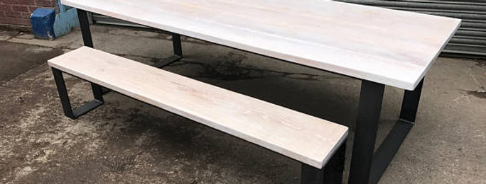 Solid Full Stave Oak Industrial Chic 8-10 Seater Steel Table & Bench 561
