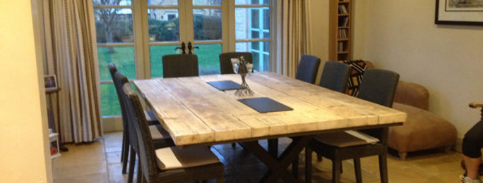 Reclaimed Industrial Chic XX 10-12 Seater Solid Wood & Metal Dining Table 490