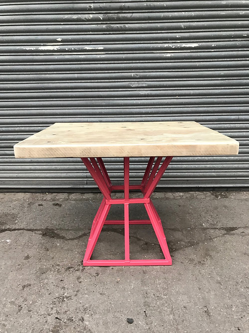 Reclaimed Industrial Chic Cage Pedestal Table in Pink 588