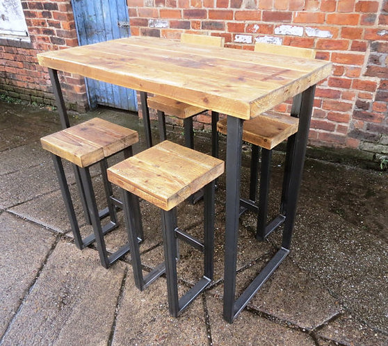 Reclaimed Industrial 4 Seater Chic Tall Poseur Table HCB Wood & Metal 069