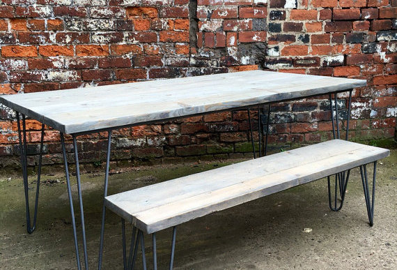 Industrial Chic Reclaimed Wood Hairpin Leg 6-8 Seater Table & Bench Grey 202