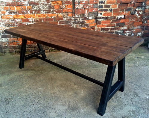 Reclaimed Industrial Chic A Frame 6 8 Seater Solid Wood U0026 Metal Dining Table  592