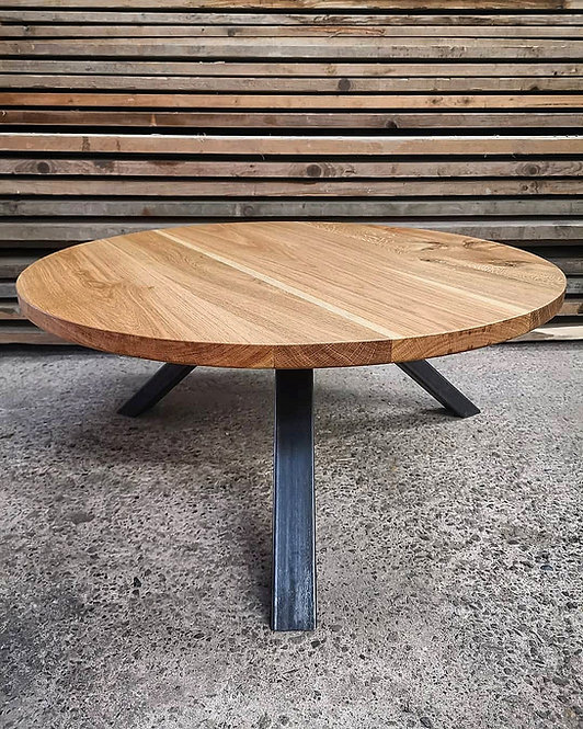 Industrial Chic Tri-Pod Round Full Stave Oak Coffee Table - 652