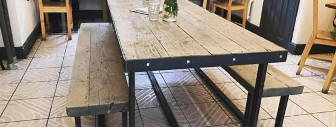 Reclaimed Industrial Chic 6-8 Seater Solid Wood & Metal Dining Table CB 506