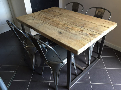 Reclaimed Industrial Chic 4 6 Seater Solid Wood U0026 Metal Dining Table 263