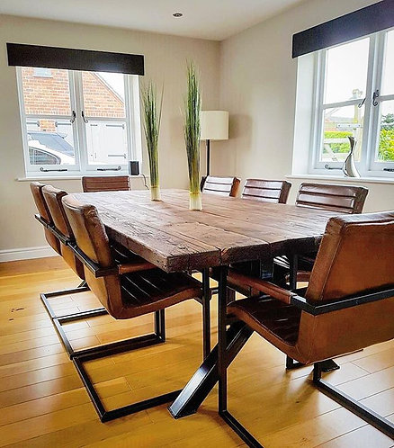 Reclaimed Industrial Chic Y-Frame 6-8 Seater Solid Wood Metal Table-621