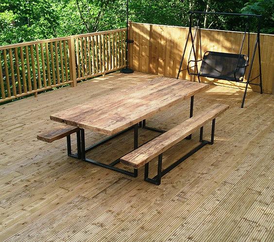 Reclaimed Industrial Chic Custom Outside Garden Table CB Steel & Wood 101