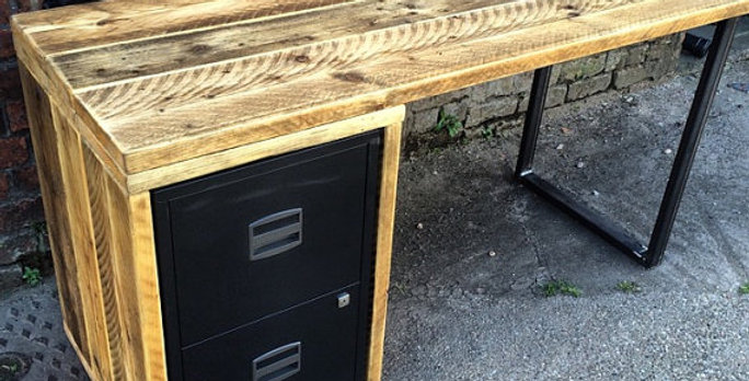 Industrial Chic Reclaimed Custom Office Desk with Drawers/ Filing Cabinet 424