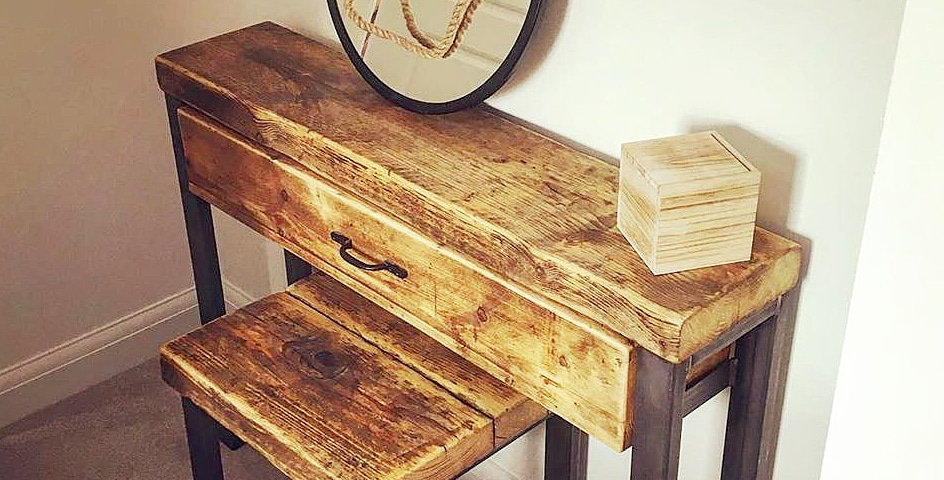 Industrial Chic Reclaimed Dressing table and Stool- 646