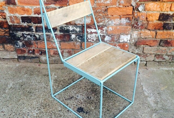 Reclaimed Industrial Chic Solid Wood & Metal Hairpin Light Green Ghost Chair 358