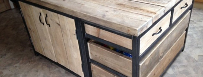 Reclaimed Industrial Steel Kitchen Island Unit with Drawers & Cupboard 501