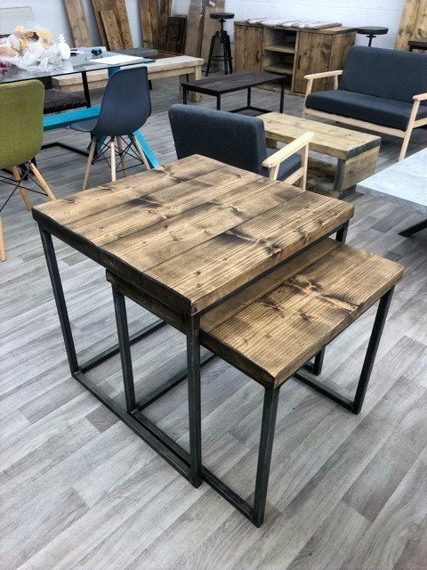 ***IN STOCK*** RECLAIMED TIMBER NEST OF TWO TABLES IN DARK OAK
